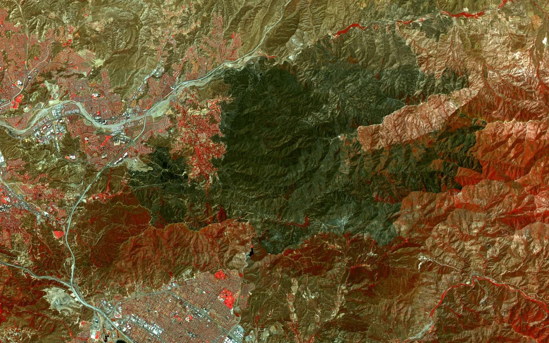 L'incendie Sand Fire (au centre, en vert sombre) laisse une blessure de 160 km2 dans le paysage autour de Santa Clarita, près de Los Angeles. Image en fausses couleurs (26,4 x 31,3 km) prise le 1er août par le satellite Terra. © Nasa, Meti, AIST, Japan Space Systems, U.S-Japan Aster Science Team