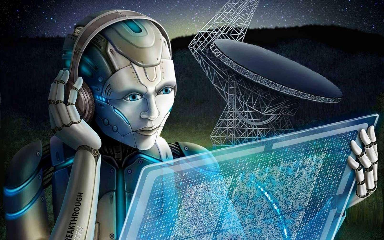 Une vue d'artiste d'une IA étudiant des FRB avec le radiotélescope de Green Bank. © Breakthrough Listen / Danielle Futselaar