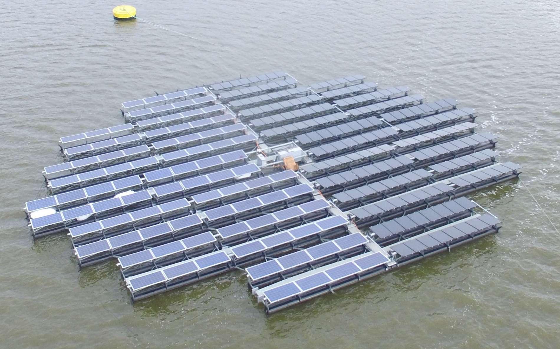 Construite sur un réservoir d'eau, la ferme solaire flottante d'Andijk, aux Pays-Bas, a une capacité de 22,8 MW. © Floating Solar