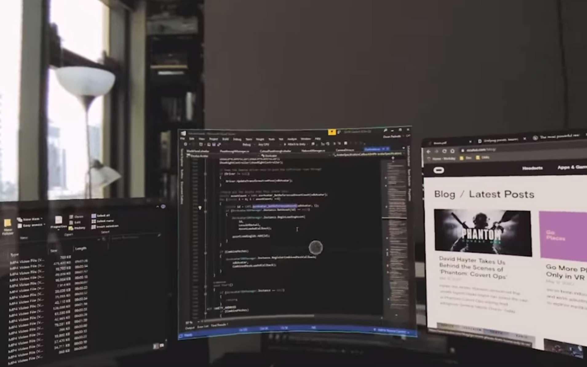 Grâce au casque virtuel, l'utilisateur navigue au milieu des différents espaces de travail, mais aussi ses applications © Facebook