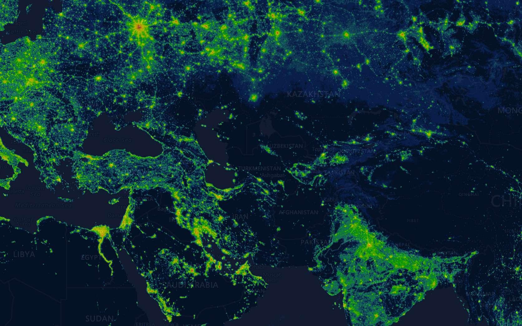 Le site Radiance Light Trends permet de visualiser en temps réel l'éclairage nocturne en n'importe quel point du globe. © capture écran Radiance Light Trends
