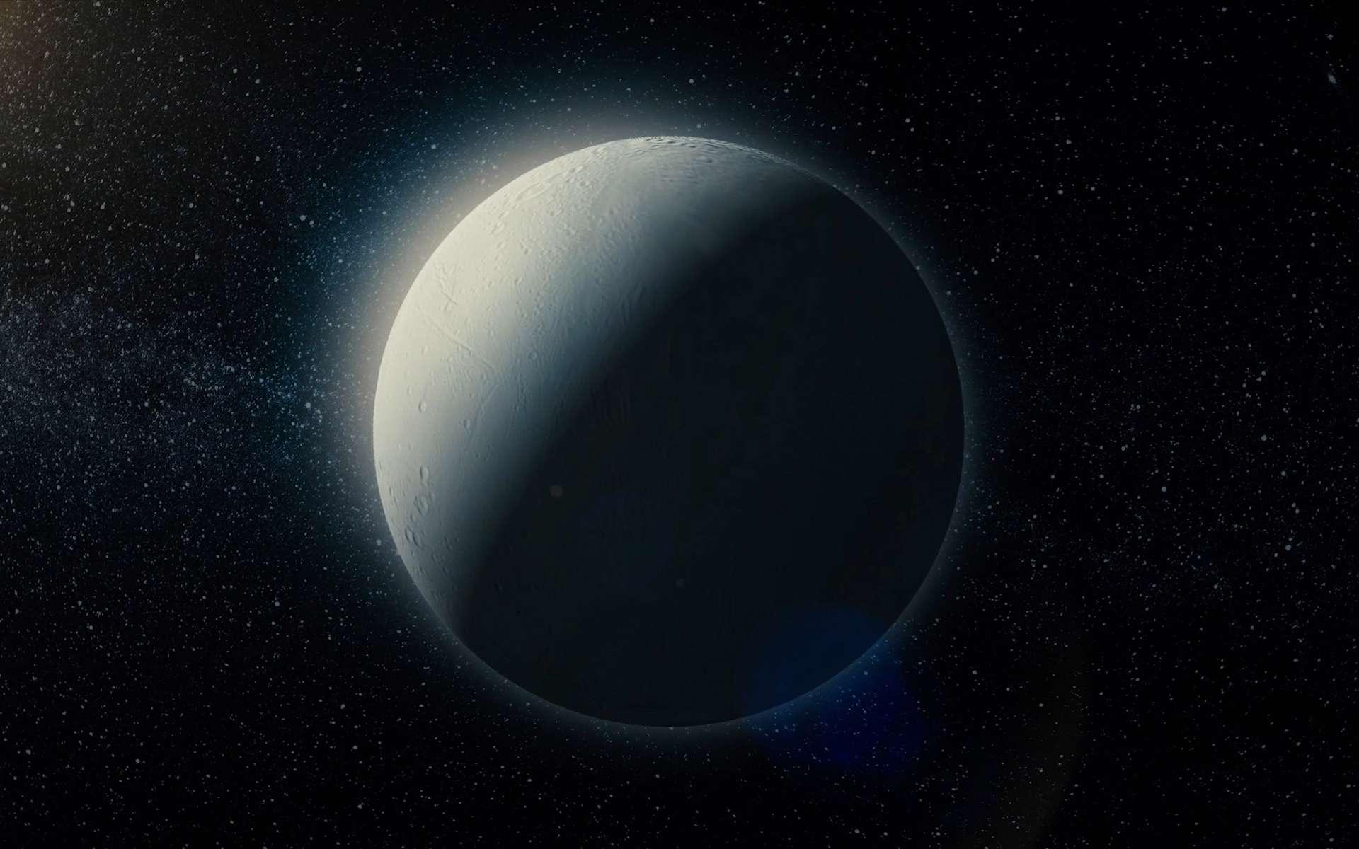 Des chercheurs affirment aujourd'hui que la quantité de méthane mesurée dans les geysers d'Encelade n'est pas explicable par les processus géochimiques connus. Elle pourrait en revanche l'être par la présence de vie dans l'océan qui couvre la lune de Saturne. © Media Whalestock, Adobe Stock