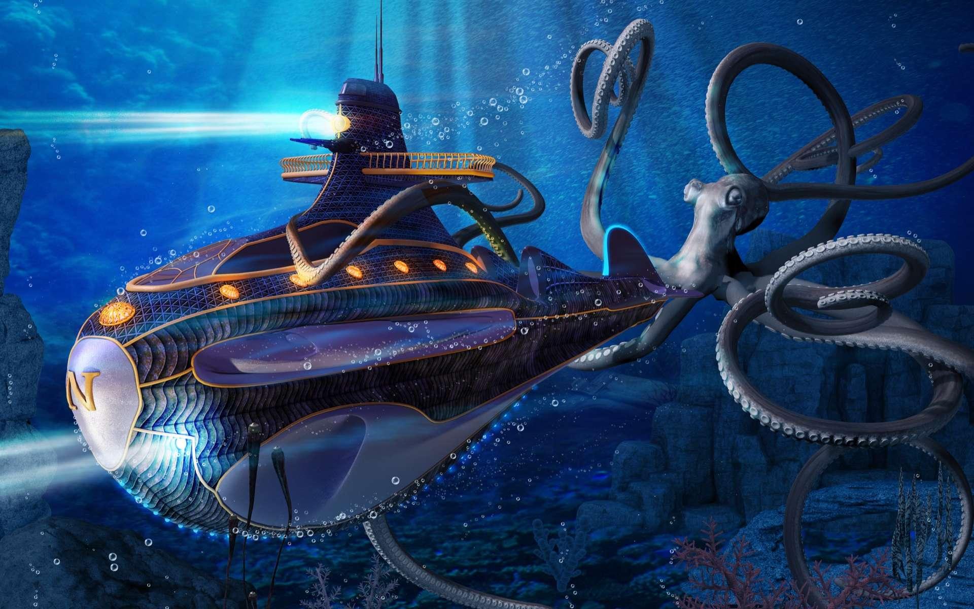 En combattant des poulpes de dimensions colossales, un marin du Nautilus est emporté par une des créatures. © Ratpack223, Adobe Stock