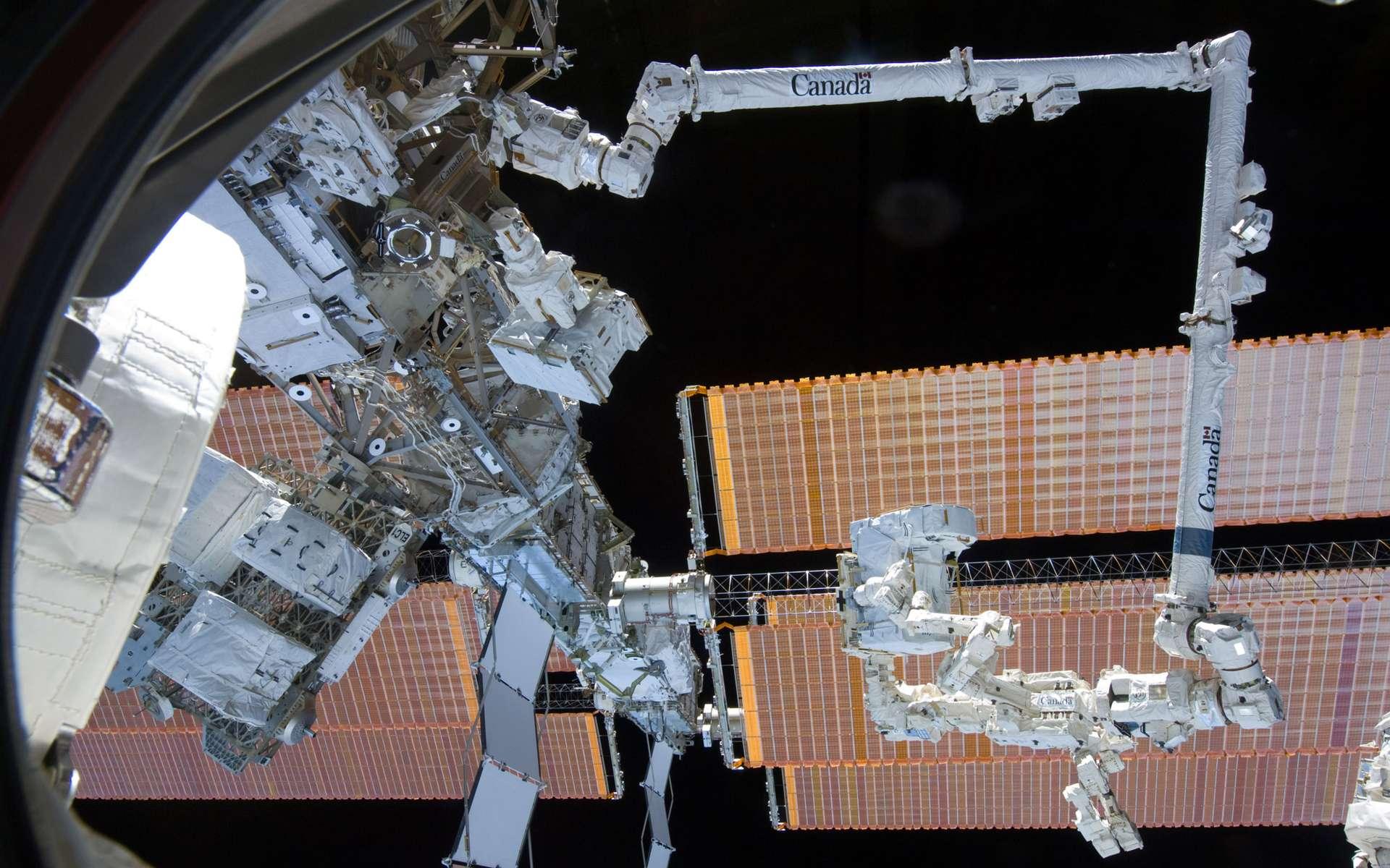 Accroché au Canadarm2, Dextre tient fermement un des éléments qu'il vient de décharger du véhicule spatial japonais HTV-2. © Nasa