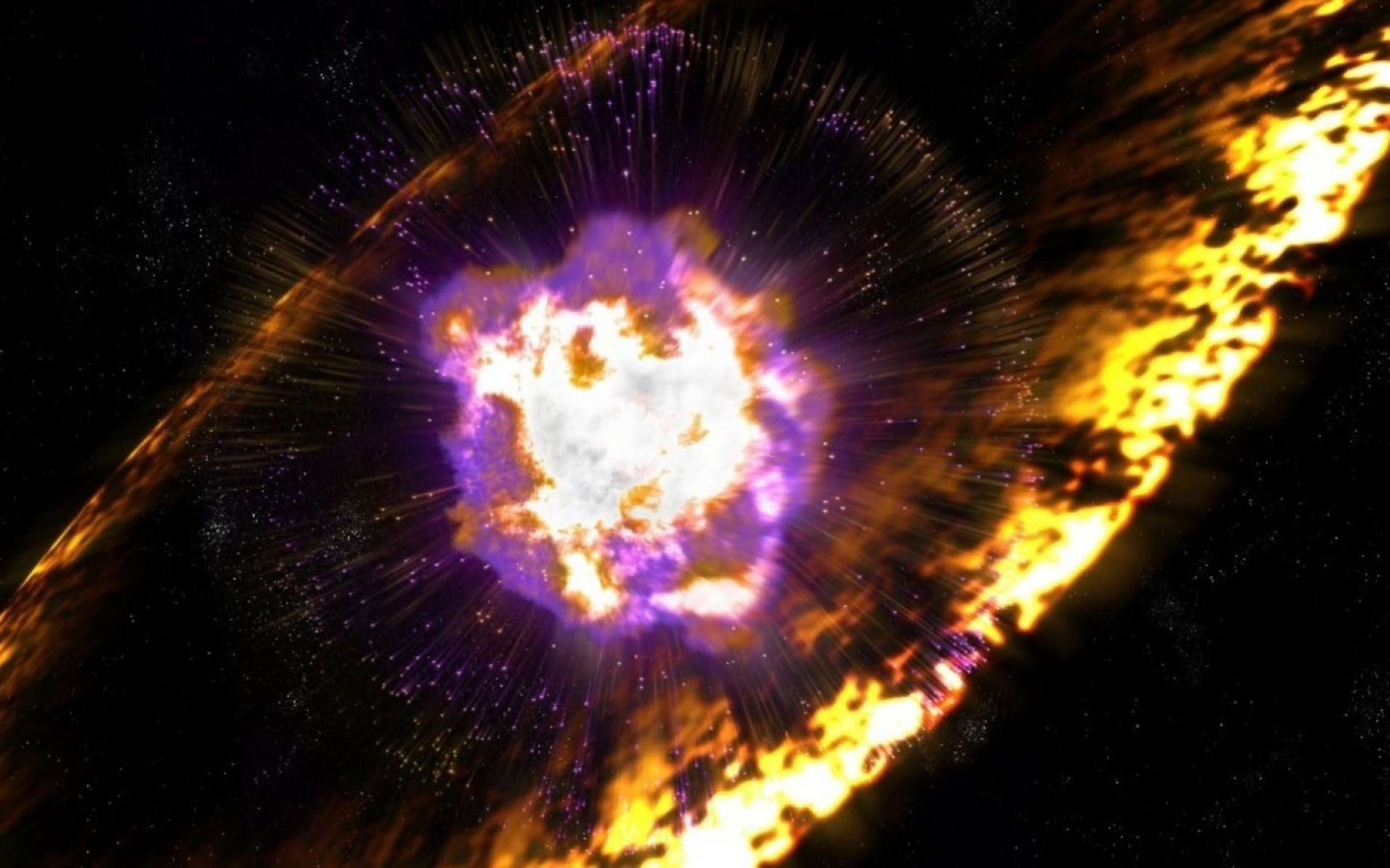 Une vue d'artiste de l'explosion d'une étoile massive donnant une supernova SN II. Elle produit des noyaux radioactifs qu'elle disperse avec d'autres éléments dans le milieu interstellaire. © Greg Stewart, SLAC