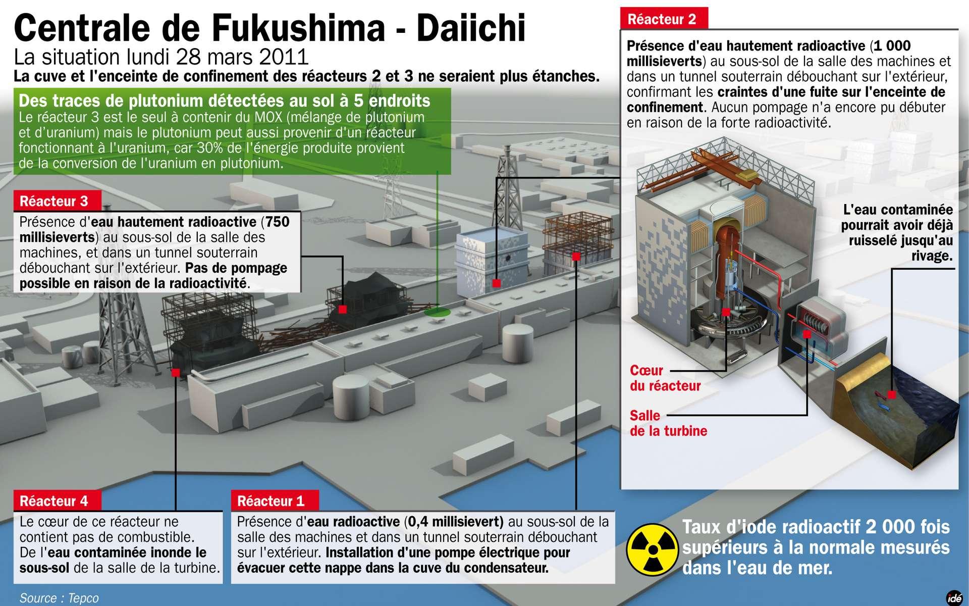De l'eau très radioactive inonde désormais les réacteurs, surtout les 2 et 3, avec respectivement, 750 et 1.000 millisieverts par heure. On la trouve en sous-sol, au niveau où se situent les turbines. Elle doit maintenant être pompée afin d'éviter qu'elle se diffuse dans le sol ou qu'elle coule jusqu'à la mer, ce qui s'est peut-être déjà passé. © Idé