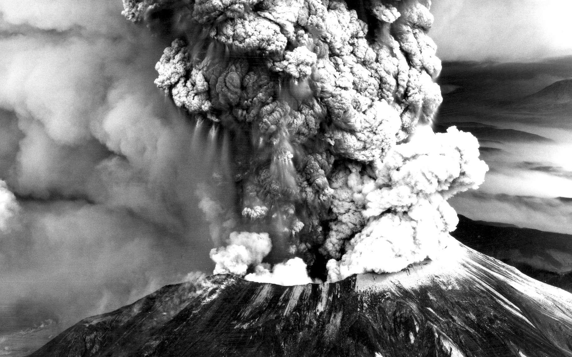 Après deux mois de tremblements de terre et de petites éruptions, le mont Saint Helens — ici vu du sud-ouest — a connu une éruption cataclysmique. C'était le 18 mai 1980. © Robert Krimmel, U.S. Geological Survey