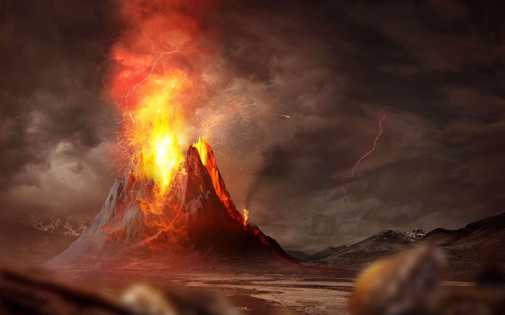 Vue d'artiste d'un volcan en éruption © James Thew / Fotolia