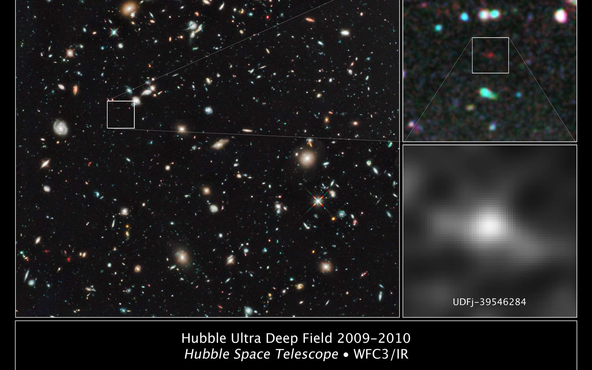La galaxie repérée sur le champ ultraprofond de Hubble (Hubble Ultra Deep Field, HUDF)© Nasa, Esa, G. Illingworth (University of California, Santa Cruz), R. Bouwens (University of California, Santa Cruz, Leiden University) / HUDF09 Team