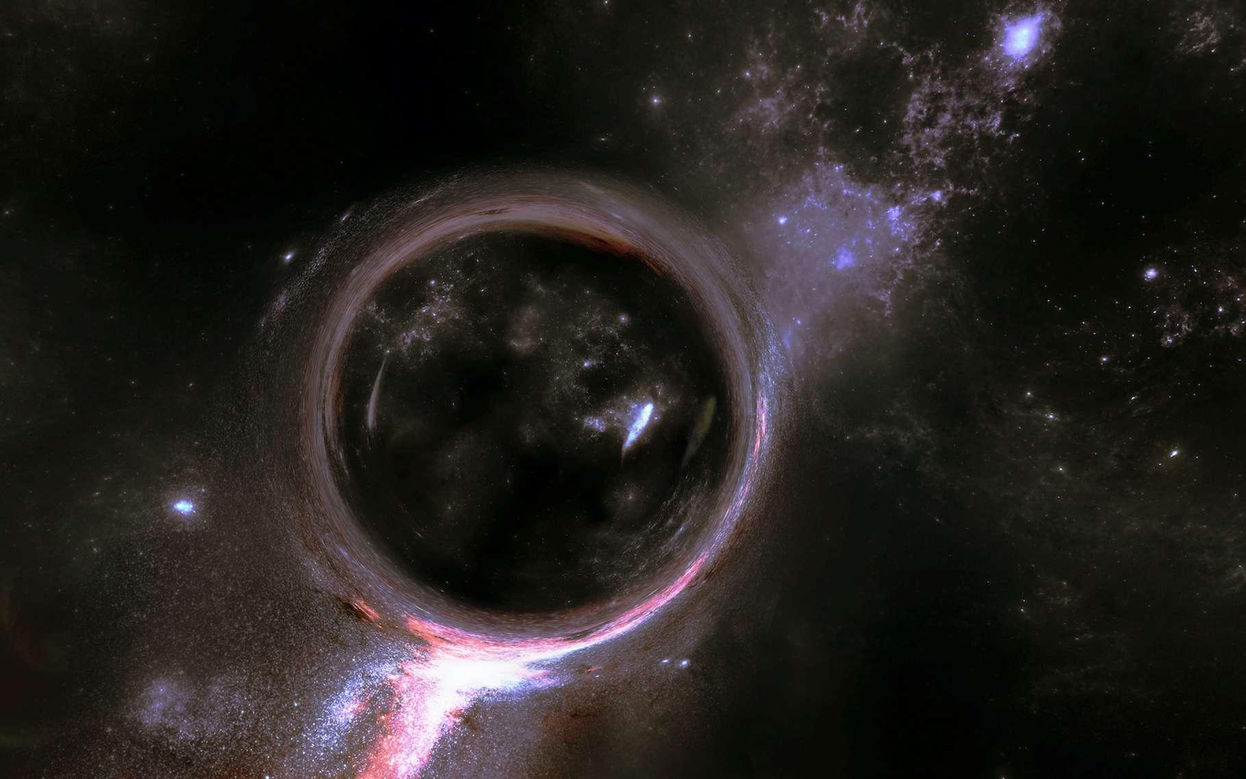 Les cosmologistes espèrent exploiter le phénomène de lentille gravitationnelle — ici en vue d'artiste — pour établir avec précision la valeur de la constante de Hubble et comprendre enfin à quelle vitesse notre Univers s'étend. © ShkYo30, Adobe Stock