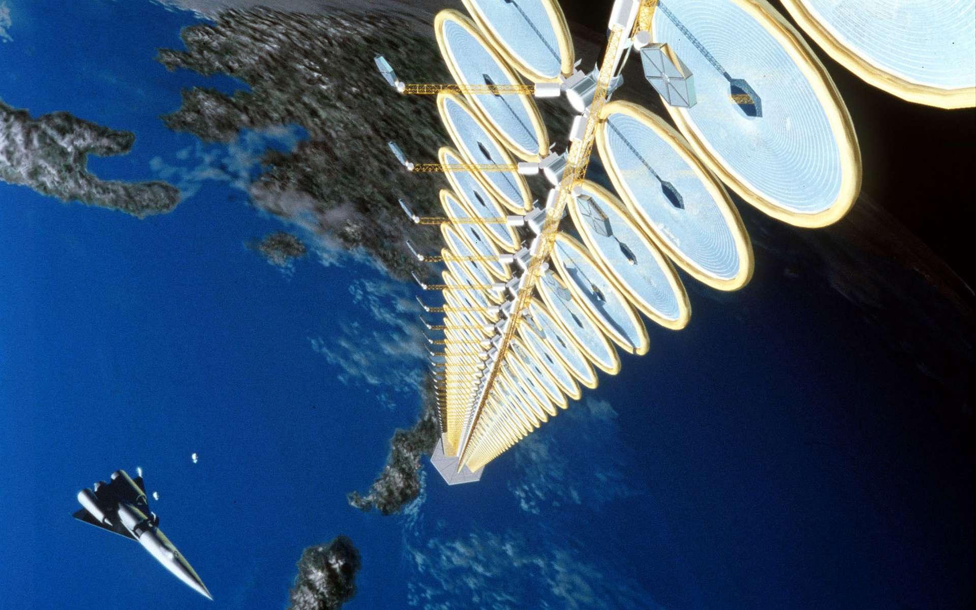 Une tour solaire en orbite, un jour imaginée par la Nasa. © Nasa