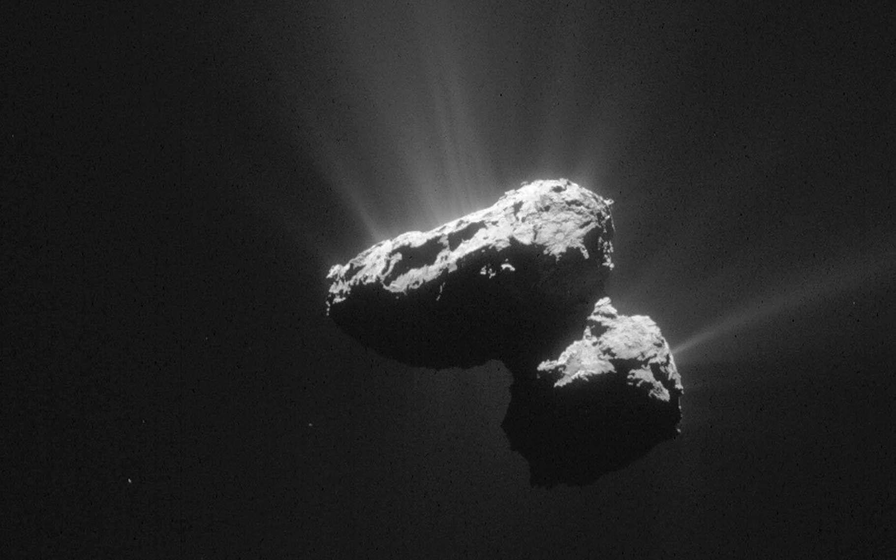 Le noyau bilobé de la comète 67P/Churyumov-Gerasimenko, alias Tchouri, photographié par Rosetta. Sa forme lui a valu d'être surnommée le « canard de bain ». © Esa, Rosetta, NavCam, CC BY-SA IGO 3.0