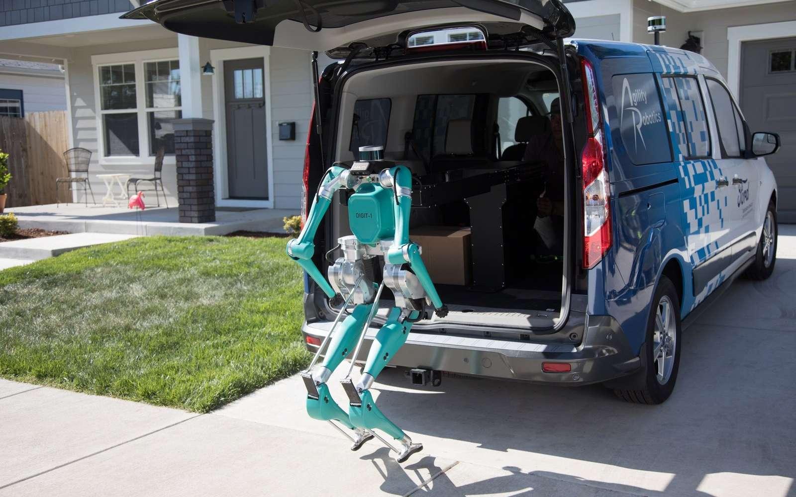 Le robot Digit débarqué de la voiture autonome de livraison Ford. © Ford