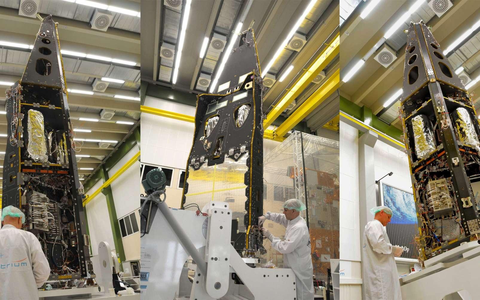 Pour Astrium, Swarm est la suite de développement engagés dès les années 1970 avec ISSE-B, le premier satellite dédié à la recherche sur le champ magnétique dans l'espace. Suivront les quatre satellites de Cluster et Champ, tous lancés en 2000. © Astrium/A. Ruttloff/2010