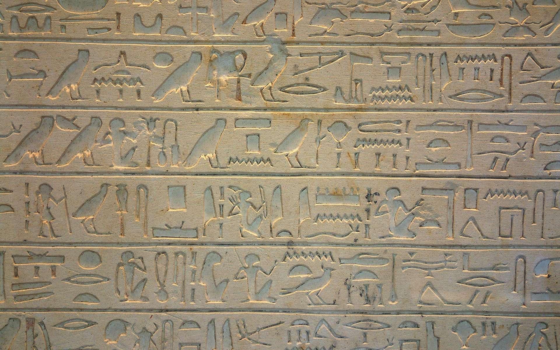 Comment les Égyptiens s'y prenaient-ils pour faire une multiplication ? Hiéroglyphes. Stèle exposée au Musée du Louvre, Paris. © Guillaume Blanchard, Wikimedias Commons, CC by-sa 3.0