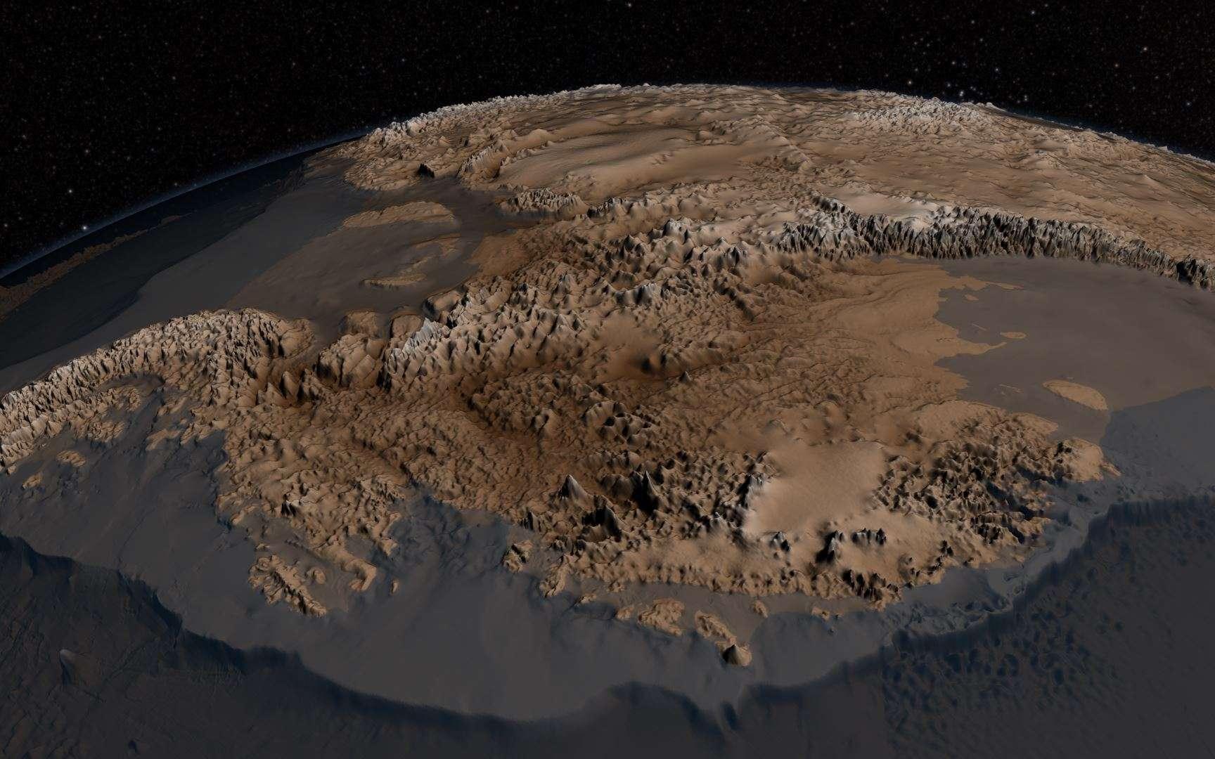 Sur cette image déduite des données collectées pour Bedmap2, la topographie réelle de l'Antarctique est révélée. Les altitudes ont été multipliées par 17, afin de rendre le relief plus facilement interprétable. © Nasa's Goddard Space Flight Center