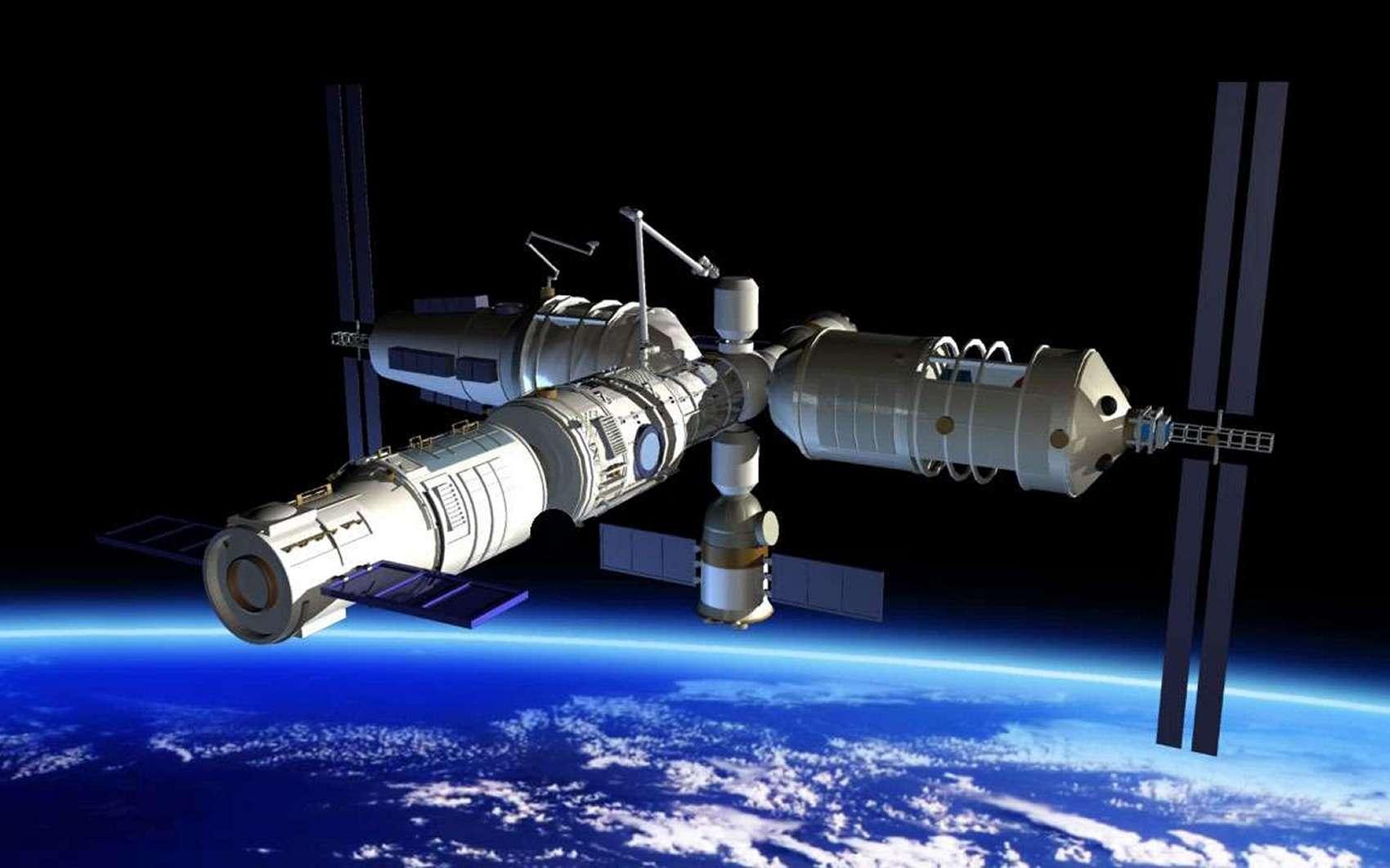Tian Gong, la station spatiale chinoise, pourra accueillir jusqu'à six personnes. Elle sera occupée en permanence par un équipage de trois « taïkonautes ». © CMSA
