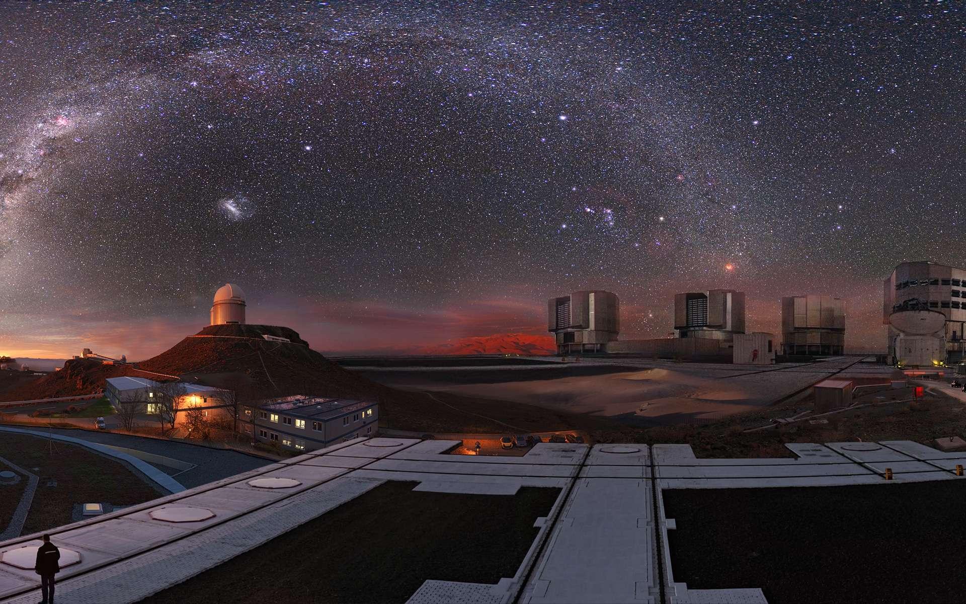 Une vue d'artiste de certains télescopes de l'ESO. © European Southern Observatory (ESO)