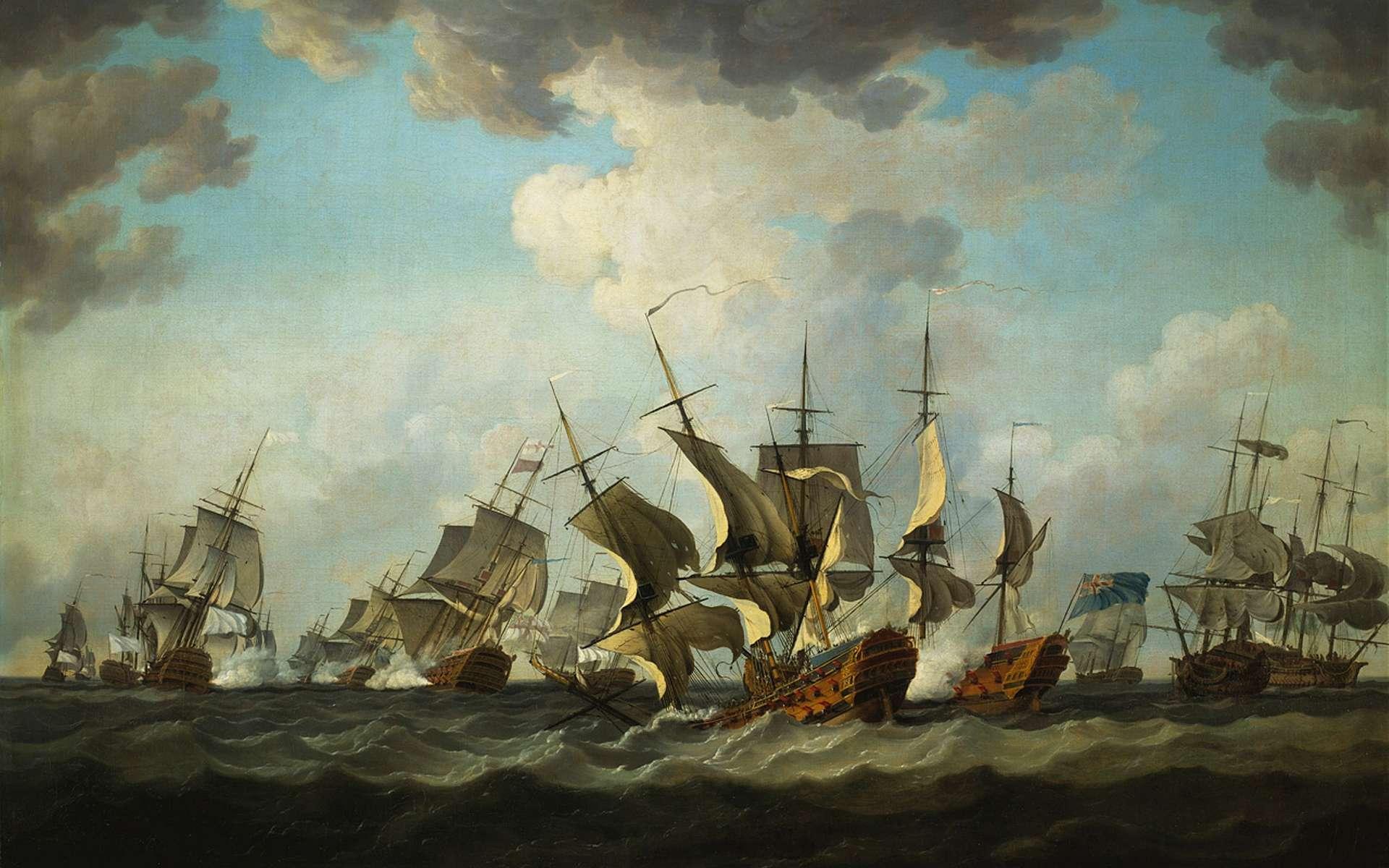 « La bataille des Cardinaux » ou bataille de Quiberon de 1759, entre marines anglaise et française ; au premier plan, le vaisseau français le Thésée est en train de sombrer. Tableau peint par Richard Paton après 1759, National Maritime Museum, Greenwich, Londres. © Wikimedia Commons, domaine public