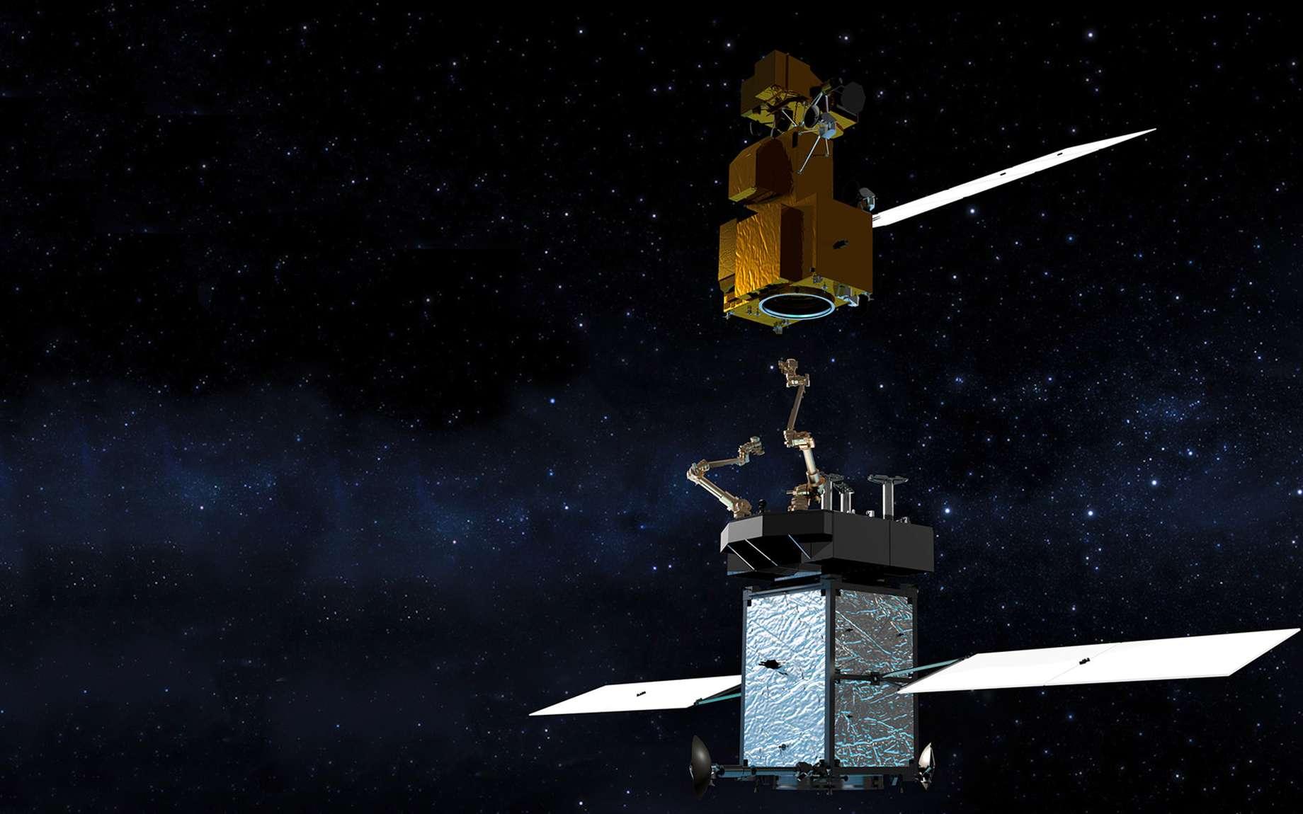 À l'avenir, grâce à la mission Restore L, un satellite pourrait être lancé pour en ravitailler un autre, voire s'y amarrer pour le désorbiter ou le repositionner. © Nasa, SSL