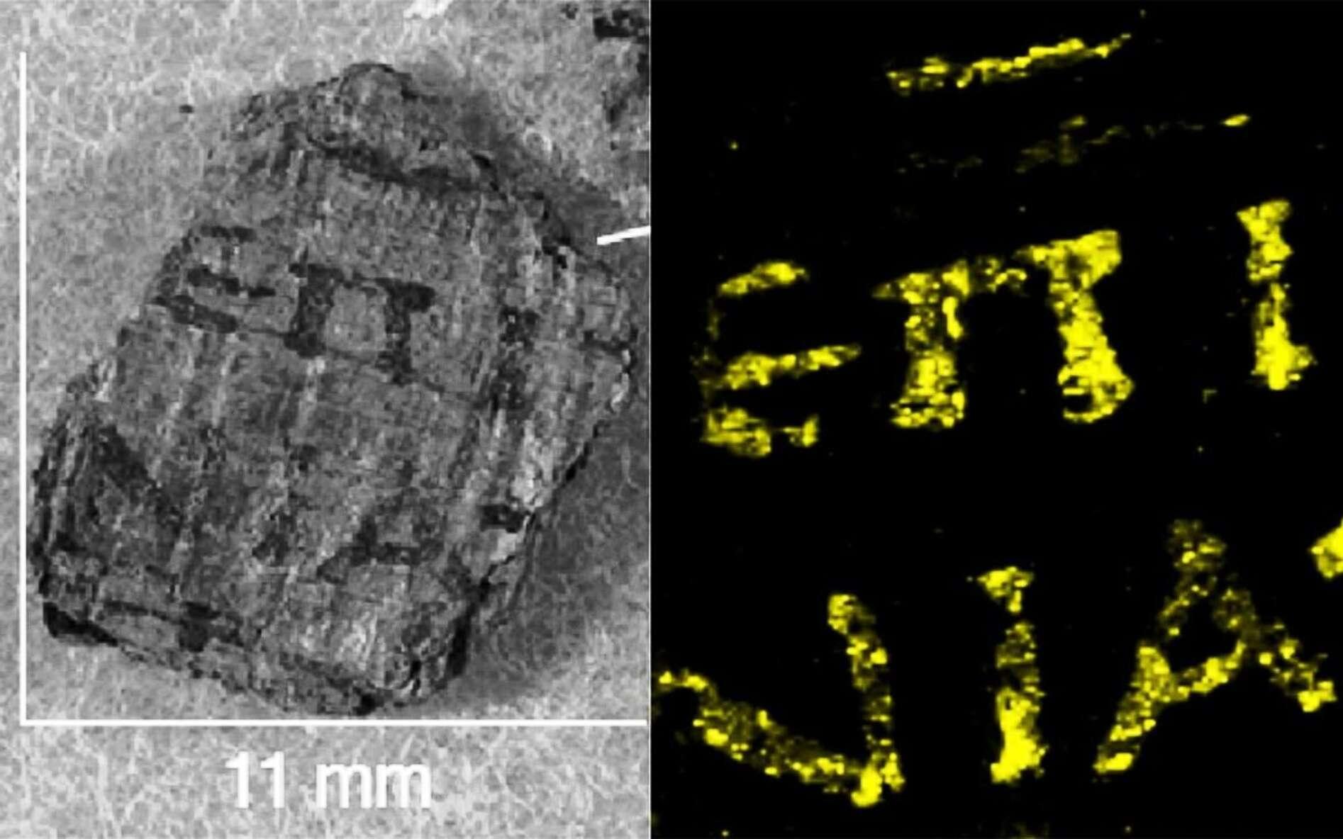 Des lettres grecques apparaissent clairement sur ces papyrus découverts à Herculanum et étudiés avec les méthodes modernes de la physique. © Emmanuel Brun