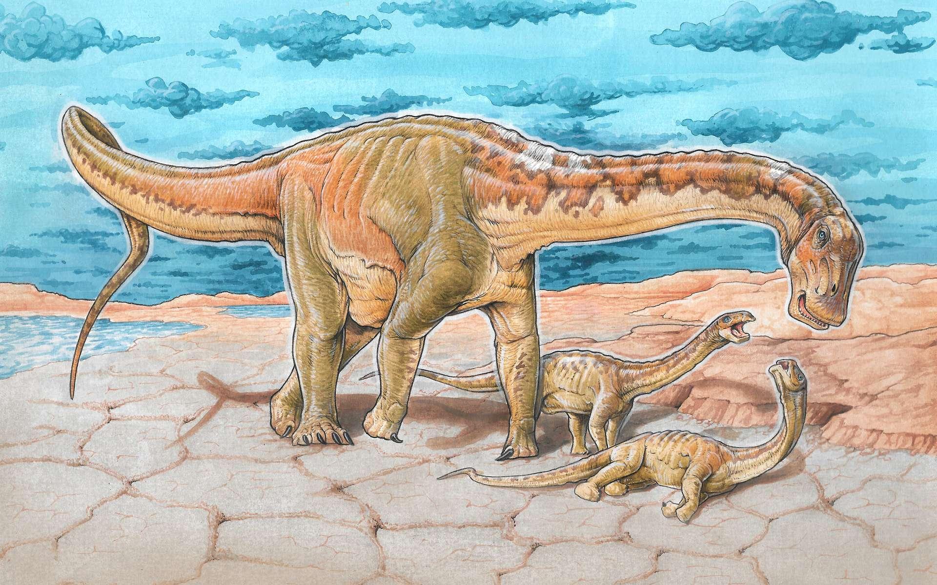Reconstitution d'un Lavocatisaurus adulte auprès de ses petits. © Jcarballido, Wikimedia Commons, CC by-sa 4.0