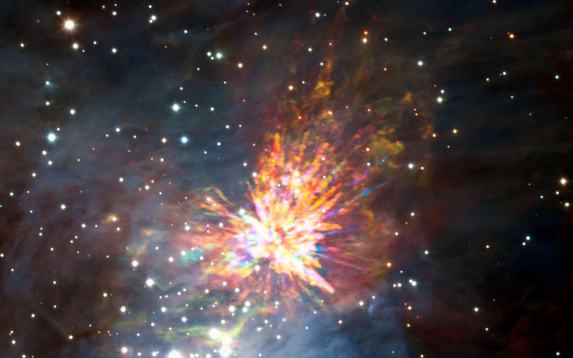 D'énormes explosions d'étoiles ont été observées. Voici une image composite (VLT et Alma) de l'évènement au sein du nuage moléculaire d'Orion (OMC-1). © Alma (ESO, NAOJ, NRAO), J. Bally, H. Drass et al.