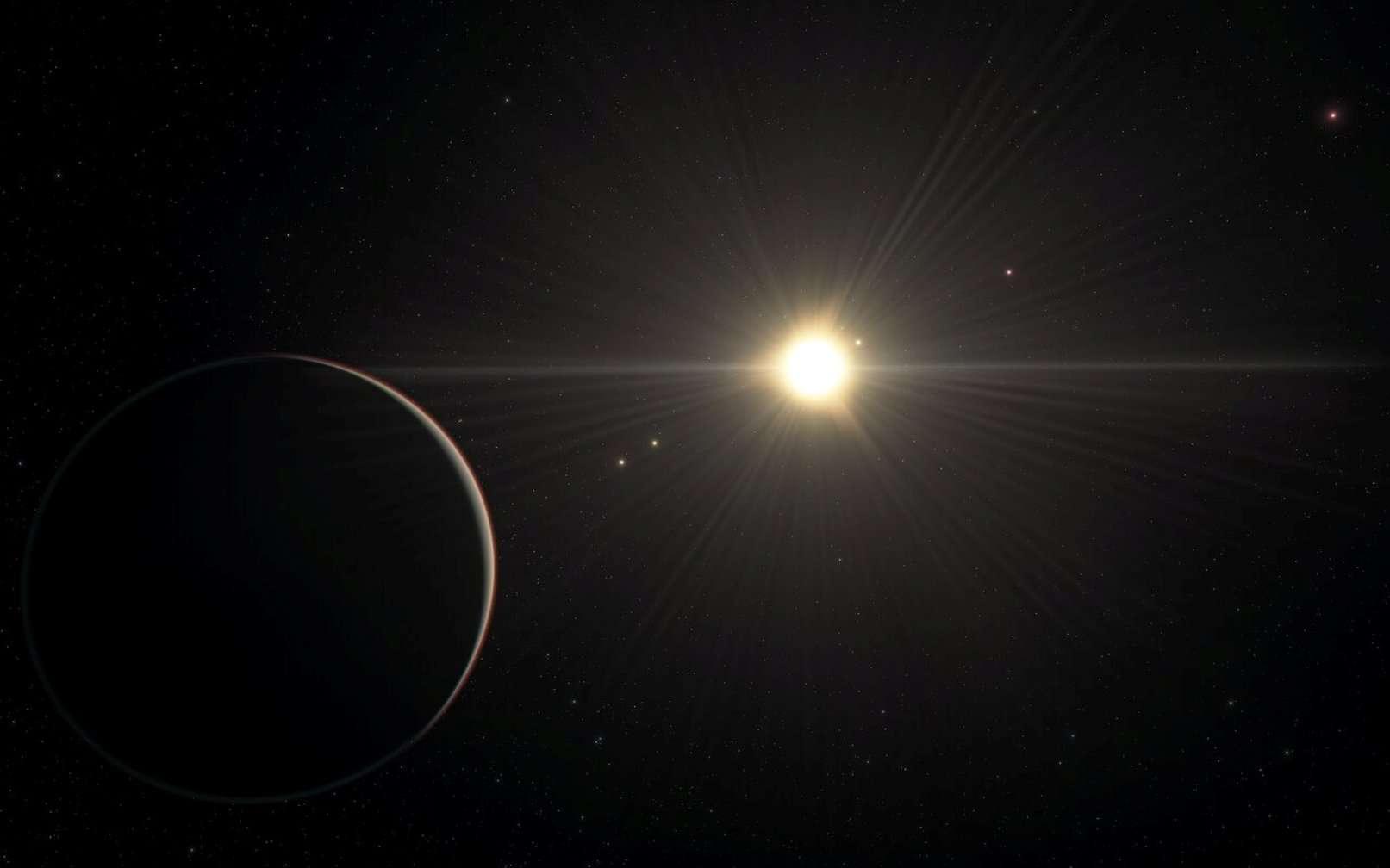 Cette vue d'artiste représente la vue du système TOI-178 depuis la planète la plus éloignée. Elle se base sur notre connaissance des paramètres physiques des planètes et de l'étoile observées, et utilise une base de données étendue des objets de l'Univers. © ESO/L. Calçada
