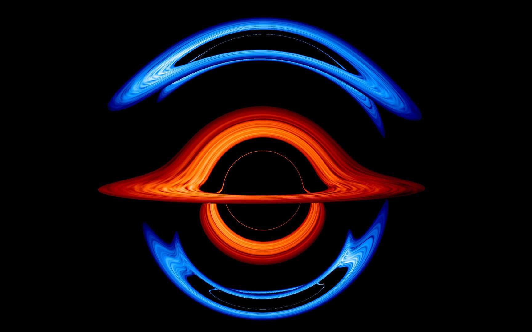 Sur cette image issue d'une simulation, un trou noir supermassif pesant 200 millions de masses solaires se trouve au premier plan. Sa gravité déforme la lumière du disque d'accrétion d'un petit trou noir compagnon presque directement derrière lui, créant cette vue surréaliste. Différentes couleurs pour les disques d'accrétion facilitent le suivi des contributions de chacun des trous noirs. © Centre de vol spatial Goddard de la Nasa, Jeremy Schnittman et Brian P. Powell