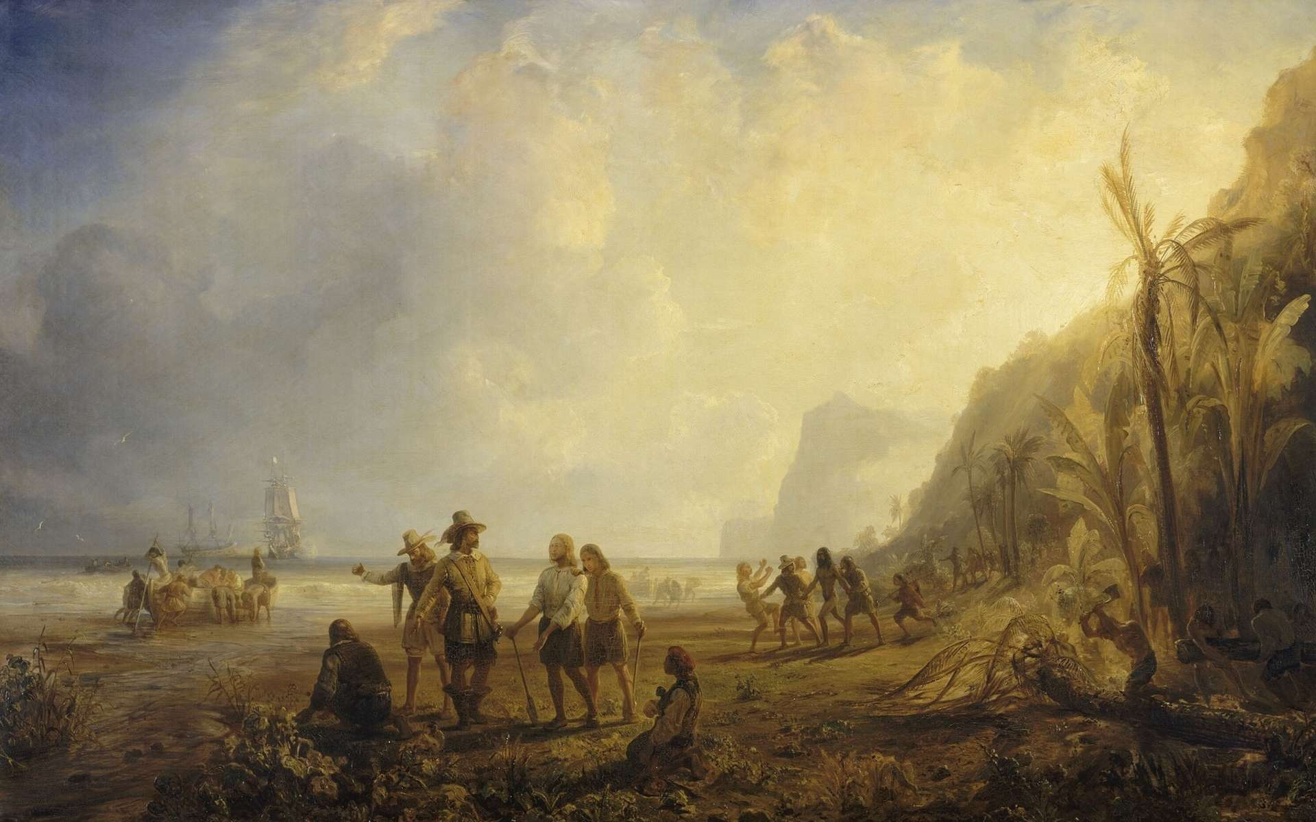 Tableau symbolisant la fondation de la Martinique par Pierre Belain d'Esnambuc en 1635, peint par Théodore Gudin, peintre officiel de la Marine. © Collections du château de Versailles, domaine public