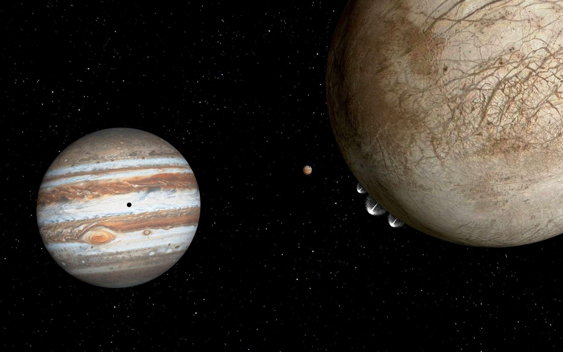 Une vue d'artiste des geysers sur Europe. On voit aussi, en orange, la lune volcanique de Jupiter, Io, et en noir sur la géante gazeuse, son ombre. © Nasa, Esa et G. Bacon (STScI)