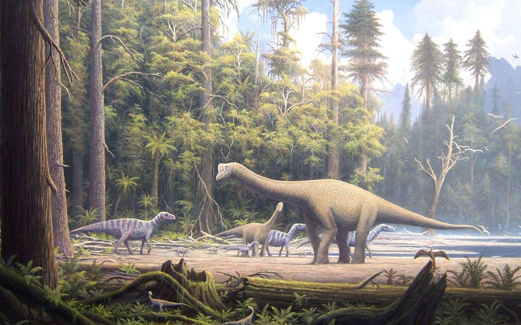 Un paysage du Jurassique. Les dinosaures théropodes étaient nombreux. Certains de leurs descendants deviendront des oiseaux. © Gerhard Boeggemann, licence Creative Commons (by-nc-sa 2.5)