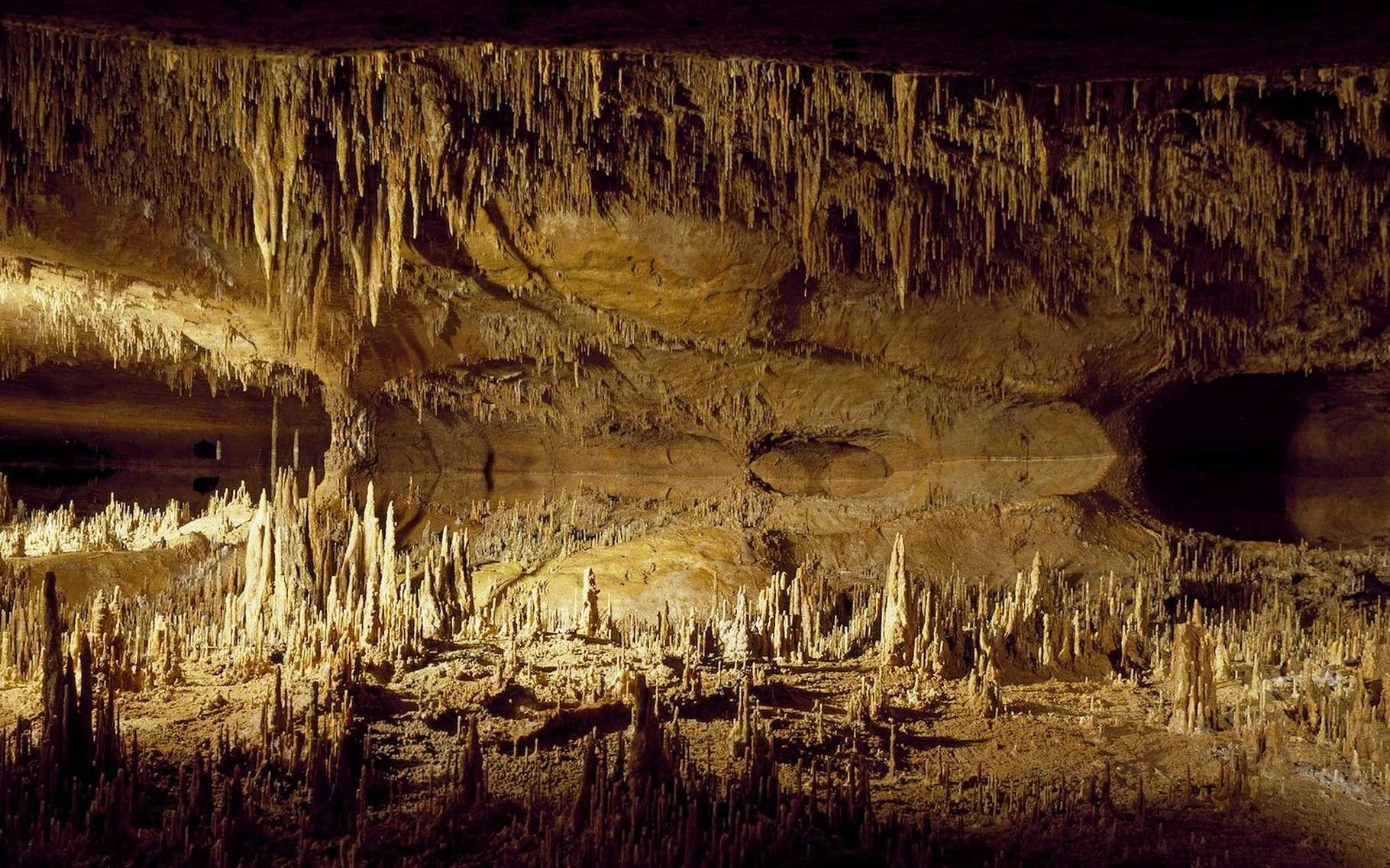 Une stalactite est une formation calcaire qui pend de la voûte d'une grotte. © skeeze, Pixabay, CC0 Creative Commons