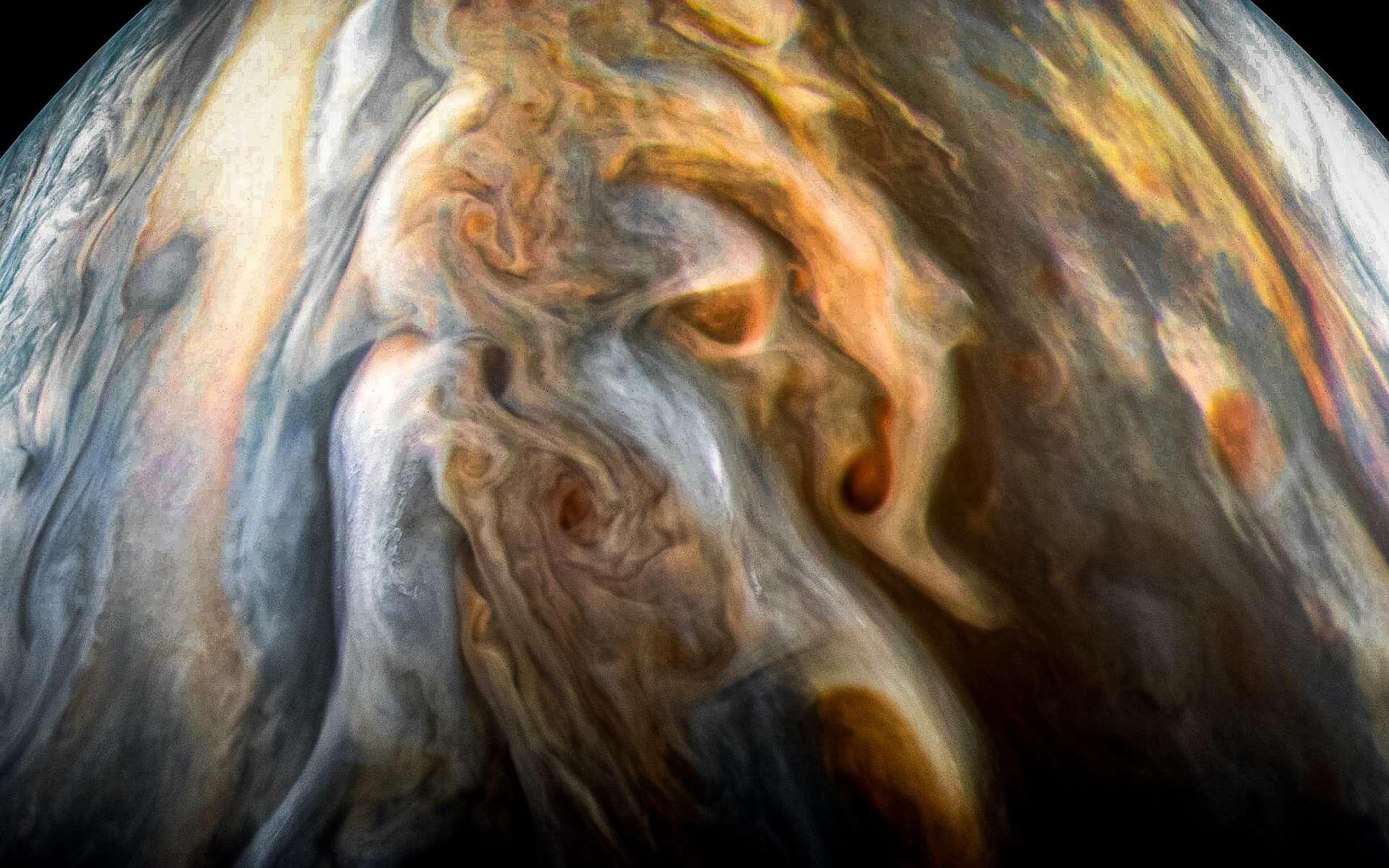 La région équatorial australe de Jupiter, vue par JunoCam le 1er septembre 2017. © Nasa, JPL-Caltech, SwRI, MSSS, Kevin M. Gill