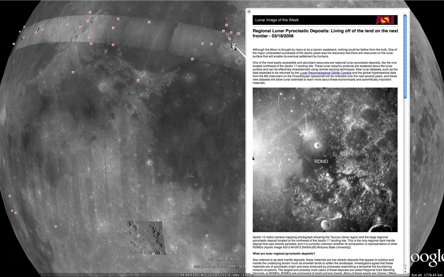 Un double clic sur Galerie d'images de la Lune affiche une carte générale avec l'emplacement des sites pour lesquels des photographies ou des informations sont disponibles. © DR