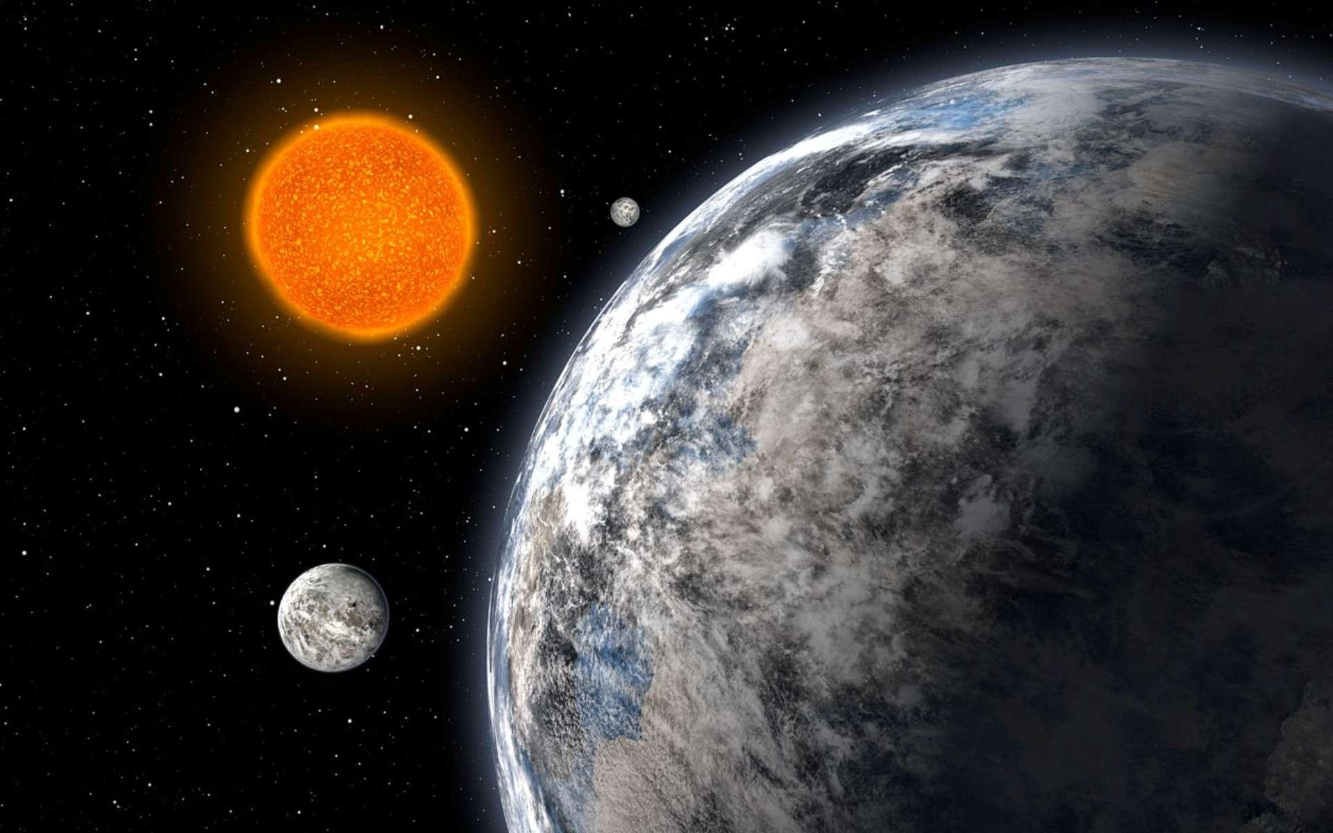 Vue d'artiste du trio de superterres découvert par une équipe européenne en utilisant le spectrographe Harps sur le télescope de l'ESO de 3,6 m à La Silla, au Chili, après cinq années d'observations. Les trois planètes ont respectivement 4,2, 6,7 et 9,4 fois la masse de la Terre et bouclent des orbites autour de l'étoile HD 40307 avec des périodes respectivement de 4,3, 9,6 et 20,4 jours. © ESO