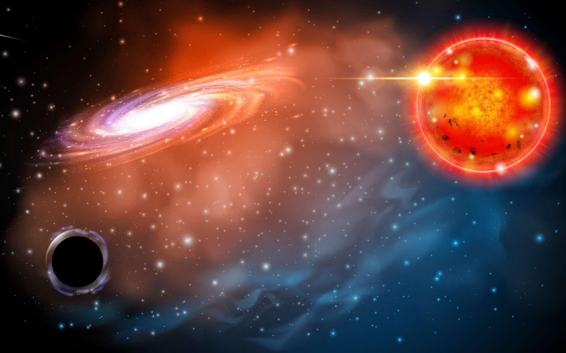 Ici, une vue d'artiste d'un petit trou noir en orbite autour d'une étoile géante rouge. Comme celui identifié par des astronomes de l'université d'État de l'Ohio (États-Unis). Un trou noir de « seulement » trois masses solaires, à quelque 1.500 années-lumière de notre Terre. © Université d'État de l'Ohio