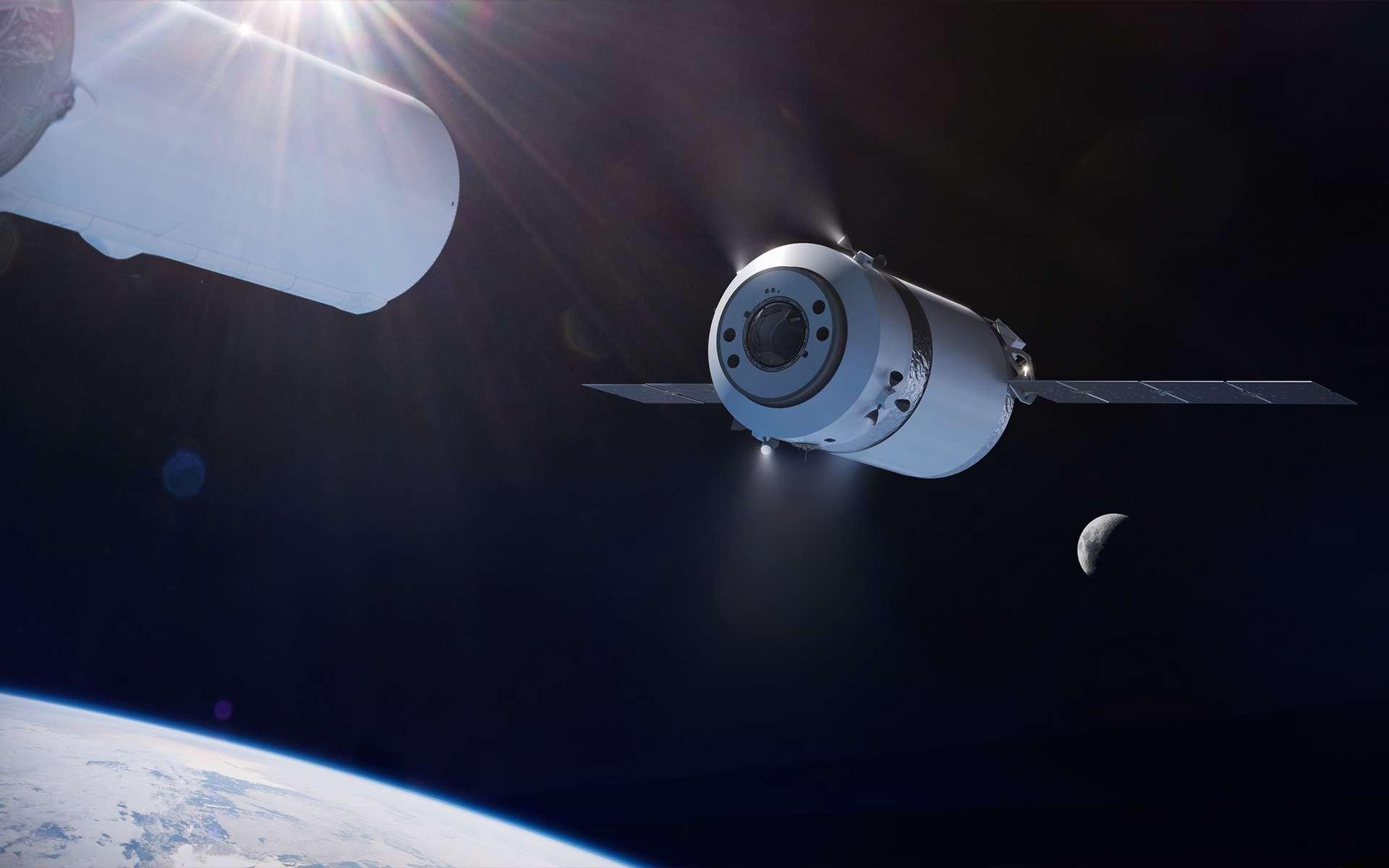 Vue d'artiste du cargo lunaire de SpaceX (Dragon XL), dérivé des capsules Dragon de transport de fret. © SpaceX
