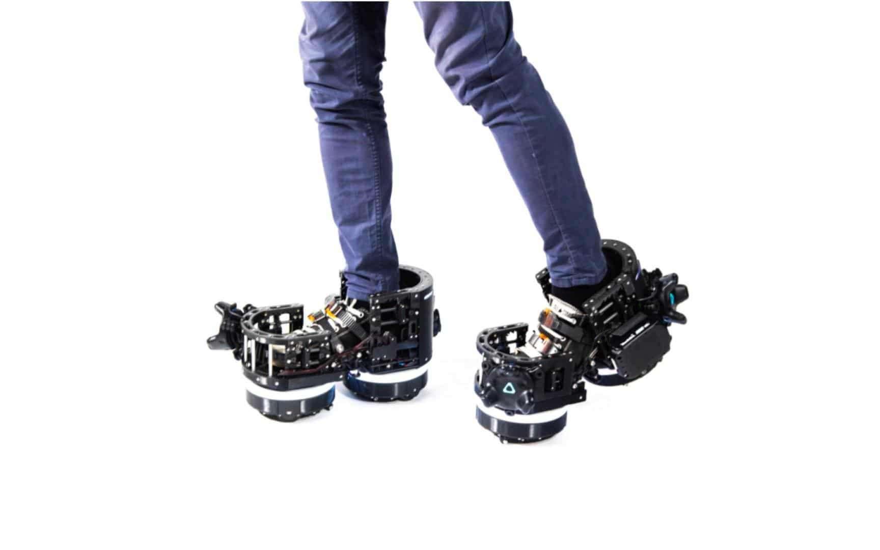 Pour simuler des déplacements dans un univers virtuel, place aux chaussures robotisées. © Ekto VR