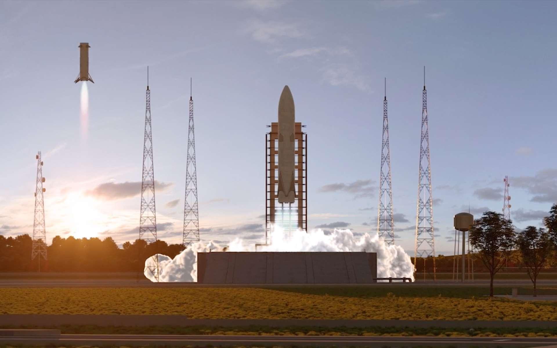 Concept d'étage réutilisable, Themis à l'étude dans le cadre de la préparation des futures générations de lanceurs européens qui succéderont à l'actuelle famille Ariane 6. © ArianeGroup, Cnes