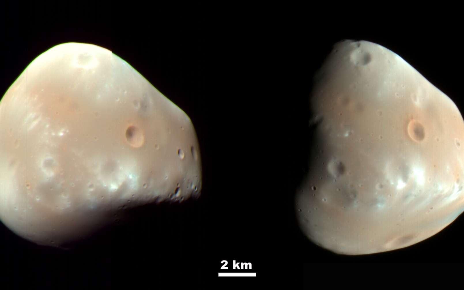 Photographie de Deimos prise par l'instrument HiRISE de l'orbiteur de reconnaissance Mars le 21 février 2009. Les couleurs ont été améliorées. © Wikipédia, Nasa/JPL-caltech/University of Arizona