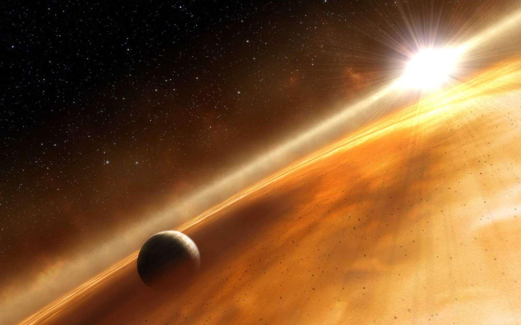 Autour de la jeune étoile CI Tau – ici, une illustration du Jupiter chaud –, gravitent quatre planètes géantes gazeuses, sur une gamme d'orbites la plus extrême jamais observée. © L. Calcada, NASA, ESA, STScI