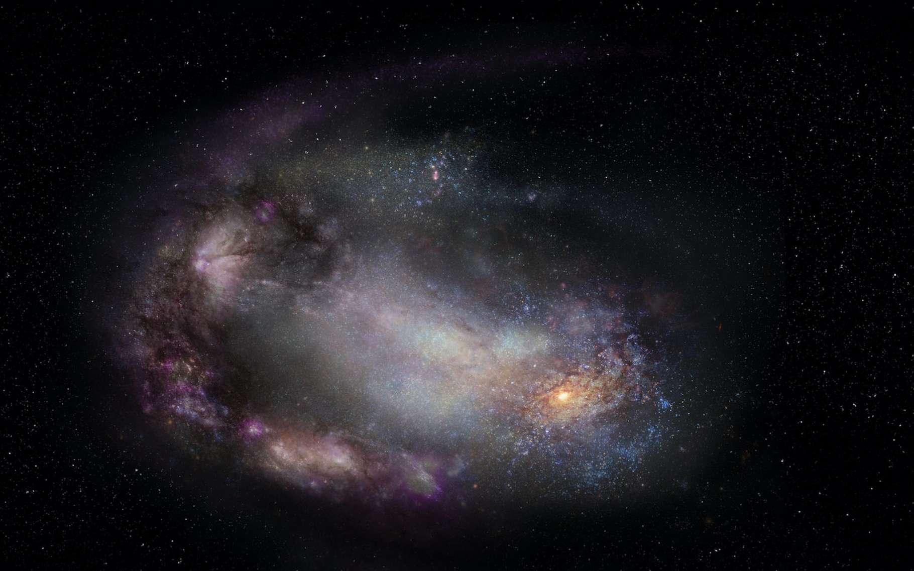 Une vue d'artiste d'une galaxie naine, probablement déformée par une interaction passée avec une autre galaxie, et un trou noir massif à sa périphérie (en bas à droite). © Sophia Dagnello, NRAO, AUI, NSF