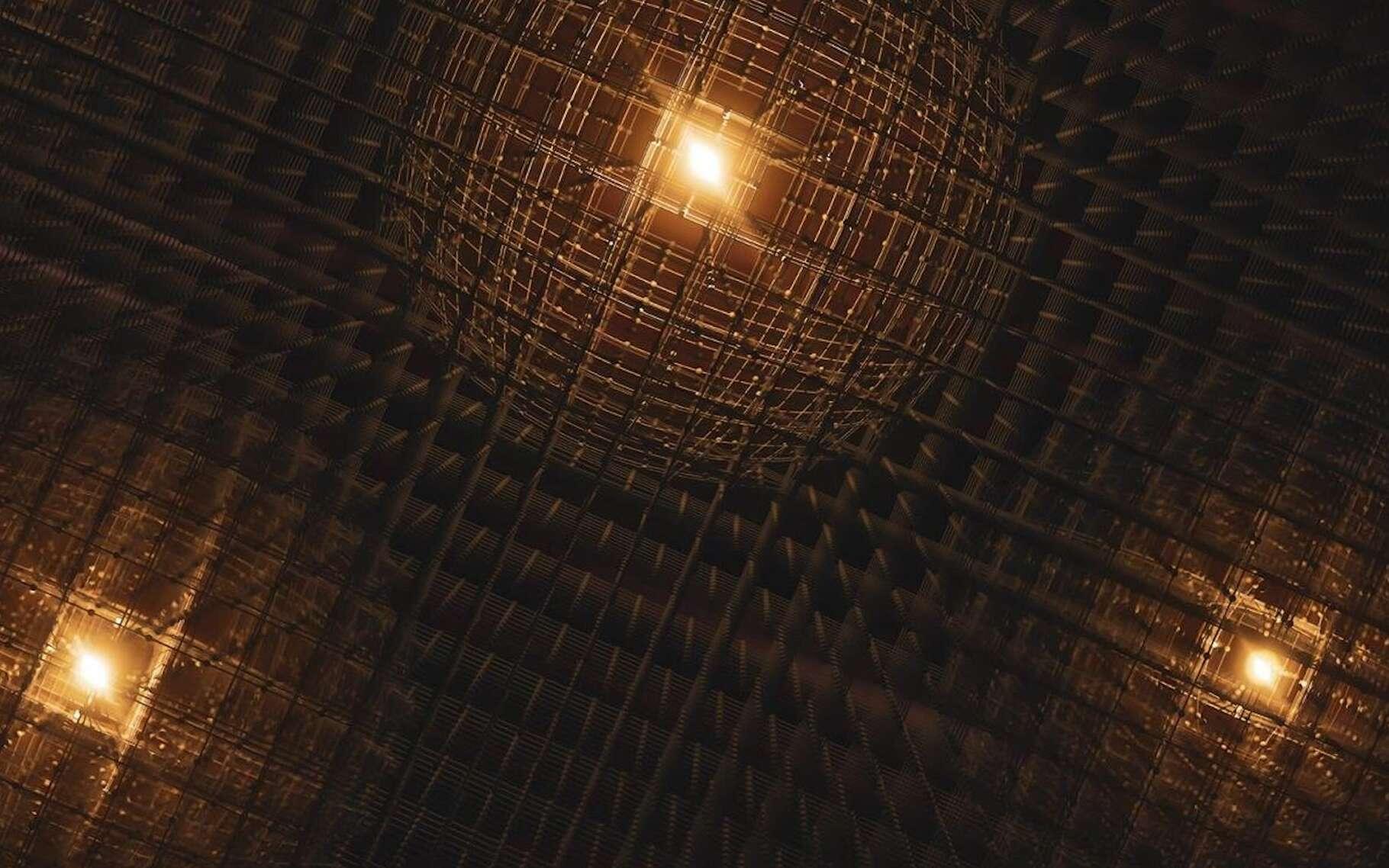 Cette illustration montre des polarons — des distorsions fugaces dans le réseau atomique d'un matériau — tels que ceux observés par des chercheurs du Laboratoire national de l'accélérateur SLAC (États-Unis) dans une pérovskite hybride au plomb. © Greg Stewart, Laboratoire national de l'accélérateur SLAC