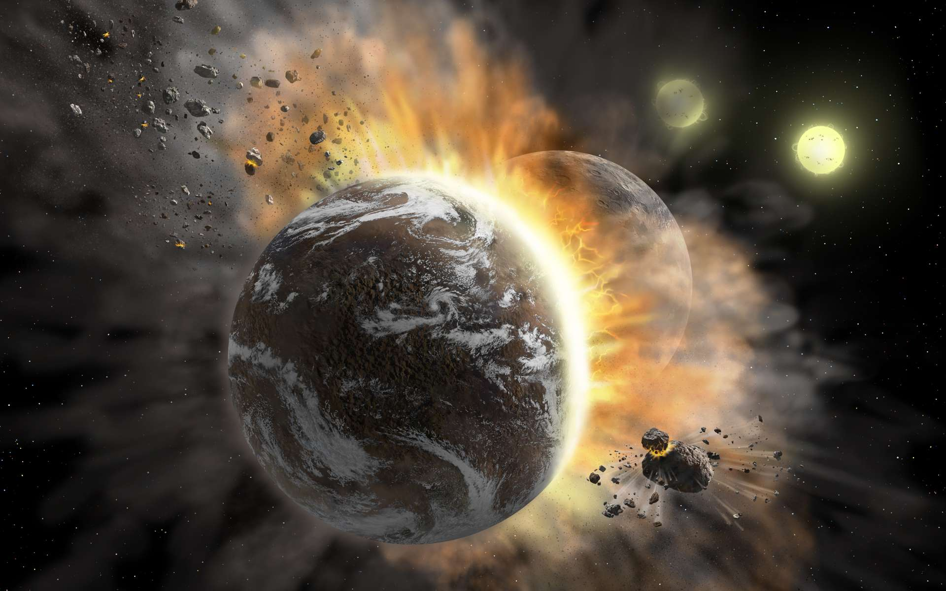 Une vue d'artiste de collisions entre planètes. © NASA/SOFIA/Lynette Cook