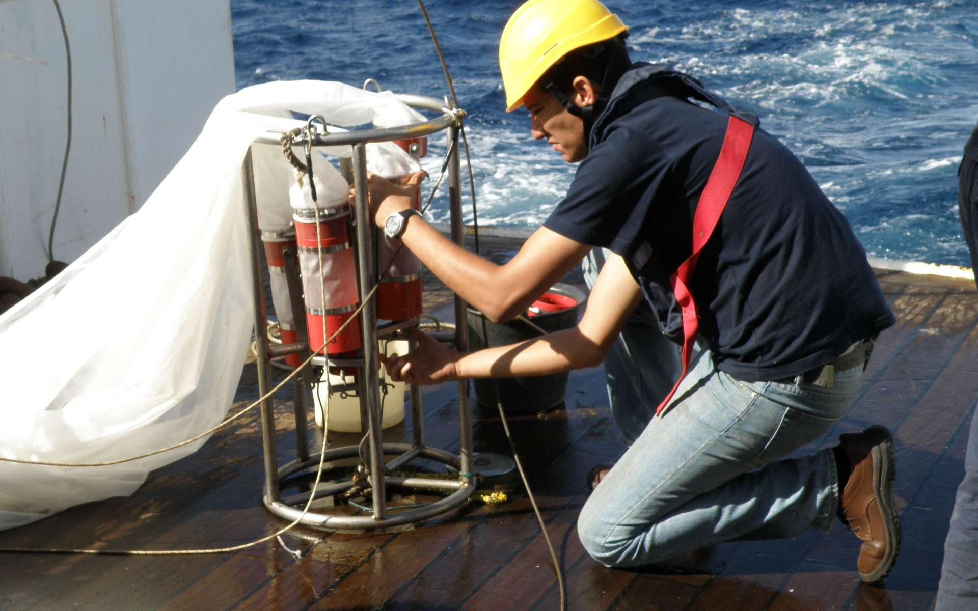 Sur le pont, on prépare un filet à plancton, équipé à sa sortie de plusieurs compartiments obturés par des filtres aux maillages différents. © IRD-SPC