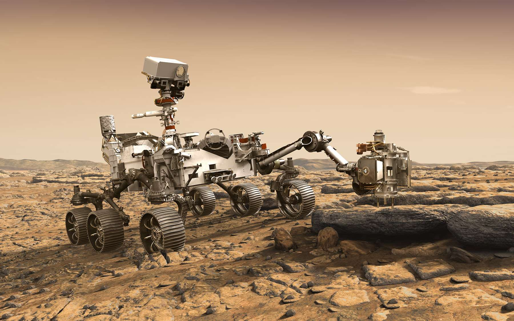 Le rover 2020 est à 85 % identique que celui de Curiosity mais avec de nombreuses améliorations et de nouveaux instruments. Ses investigations ne seront pas les mêmes que celles de son prédécesseur, toujours en activité dans le cratère Gale. © Nasa, JPL-Caltech