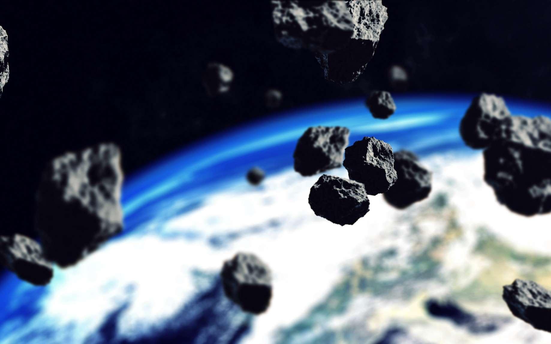 Vue d'artiste d'une pluie d'astéroïdes fonçant vers la Terre. © klss777, Fotolia