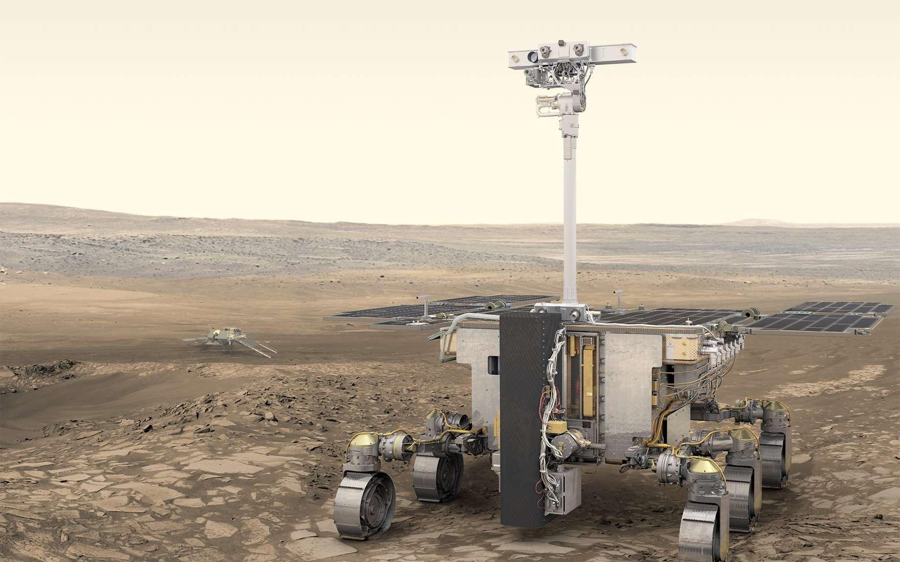 Le rover ExoMars 2020 embarquera une suite de neuf instruments analytiques en vue de documenter l'habitabilité de Mars et de détecter d'éventuelles traces de vie passée ou actuelle à la surface, mais aussi sous la surface martienne à l'aide d'un foret. © ESA, ATG medialab