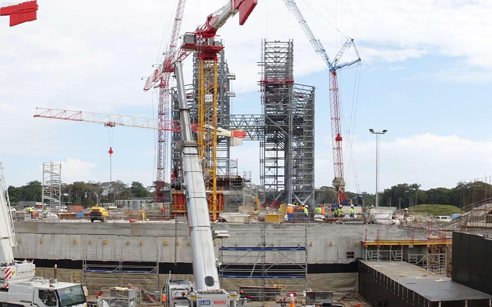 État d'avancement de la construction du pas de tir d'Ariane 6 (août 2018). © Cnes, service optique du CSG